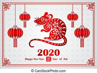 Chinese new year 2020 card is rat in circle frame with ...