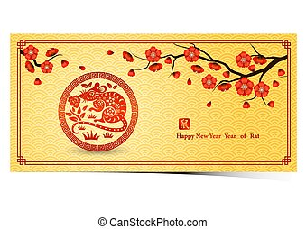chinese new year 2020 - Chinese new year 2020 card is rat in...