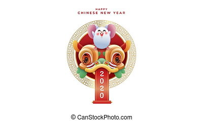 Chinese new year 2020 cute rat dragon animation