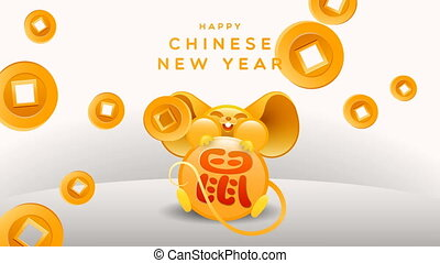 Chinese new year 2020 gold fortune rat animation - Happy ...