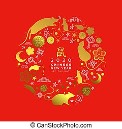 Chinese new year 2020 gold glitter rat icon card