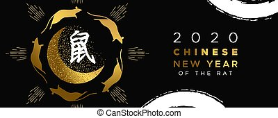 Chinese new year 2020 gold glitter rat moon banner