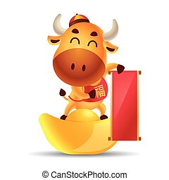 Chinese new year 2021. Cartoon cute ox holding empty big Chinese scroll couplet and standing on gold ingot. The year of Ox. Translation: Blessing. - vector