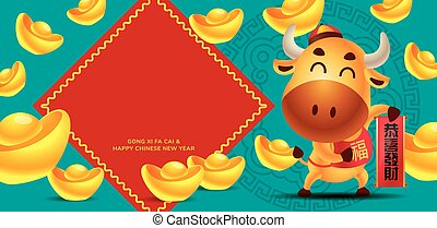 Chinese New Year 2021. Cute cow holdings Chinese couplet with large amount of gold ingots falling down with huge empty couplets banner. - vector