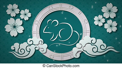 Chinese new year animation of a rat in a spinning wheel 4k