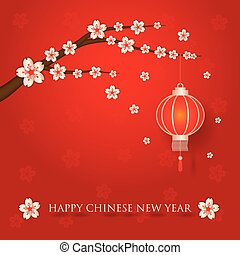 Chinese new year with cherry blossom branches on red background