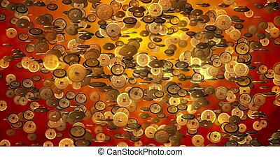 Chinese new year background, Golden coins 3d texture. 3D rendering