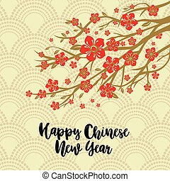 Chinese New Year Background. Red Blooming Sakura Branches on Gold Backdrop. Vector illustration.