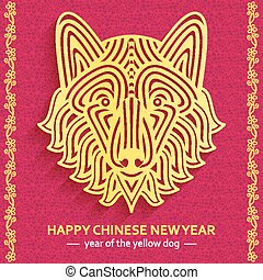 Chinese New Year background with creative stylized dog