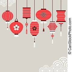 Chinese New Year background with lanterns - vector ...