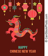 Chinese New Year background with red dragon
