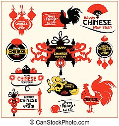 Chinese New Year badge set. Silhouette of rooster, lantern, dragon, fortune coin, folding fan, mandarin orange, dumpling, gold ingot and scroll. Chinese New Year label, stamp, greeting card design