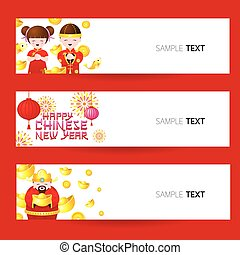 Chinese lunar new year greeting banner set chinese new year chinese new year banner m4hsunfo