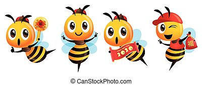 Chinese New Year bee set. Cartoon cute bee holding Couplet scroll sign, holding a honey dipper, Lucky bag and wearing ancient cap. Translation: Lucky