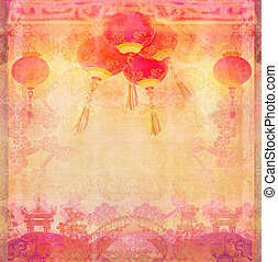 Chinese New Year card - Traditional lanterns and Asian...
