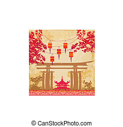 Chinese New Year card - Traditional lanterns and Asian buildings