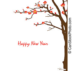 Chinese New Year card with cherry blossom. Vector illustration.