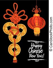 Chinese New Year card with red lantern, gold coins