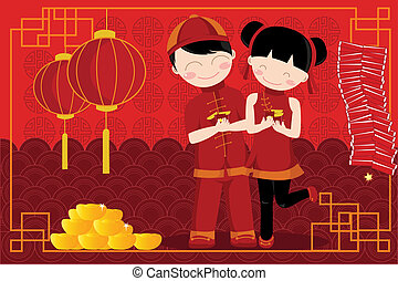 A vector illustration of a pair of kids celebrating Chinese New Year
