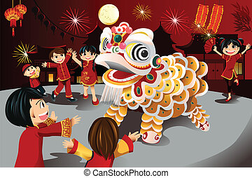 Chinese New Year celebration - A vector illustration of kids...