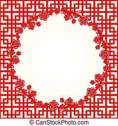 Chinese New Year Cherry Blossom Frame Background