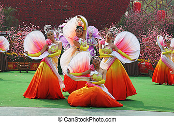 Chinese dance group in beautiful costumes - Chinese New...