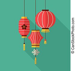 chinese new year, clean flat design with lanterns - chinese...