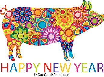 Chinese New Year Colorful Pig Illustration - Chinese Lunar...