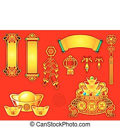 Chinese New Year decoration banners, scrolls, gold, wishes, bells, coins