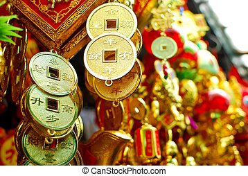 chinese new year decoration items , hanging gold coin with ...