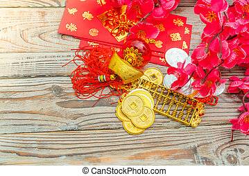 Chinese New Year decoration on wood wall .,Chinese characters text means: rich, successfully, happiness, peace, riches and honour, auspicious , good luck