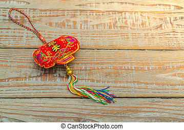 Chinese New Year decoration on wood wall .,Chinese...