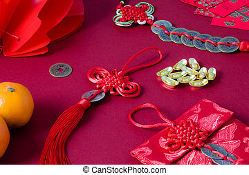 Chinese New Year Decoration - Red Copper Coins Mascot Prosperity Protection Home Car Decor