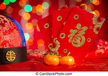 Chinese New Year decorations and red packets