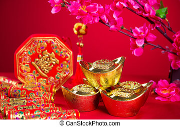 chinese new year decorations, generci chinese character symbolizes gong xi fa cai without copyright infringement