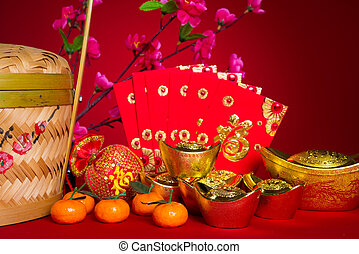 chinese new year decorations, generic chinese character symbolizes gong xi fa cai without copyright infringement
