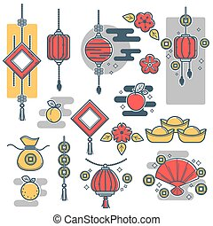 Chinese New Year decorations icons vector lantern, gold coins symbols