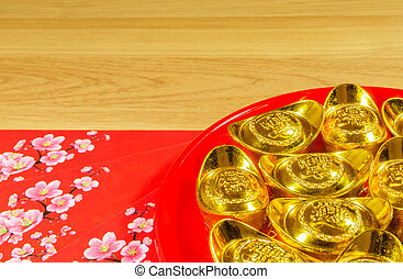 Chinese New Year decorations on timber background