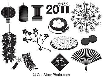 Chinese new year elements on white for celebrations.Vector black silhouettes