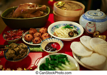 Chinese New Year feast - Chinese or Lunar New Year food are ...