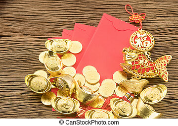 Chinese new year festival decorations, ang pow or red packet...