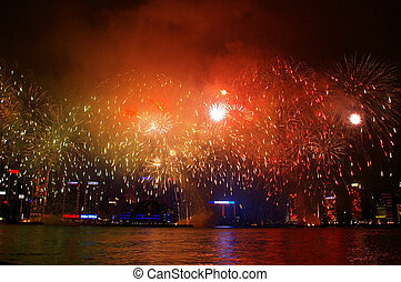 Chinese New Year fireworks along Victoria Harbour, Hong Kong