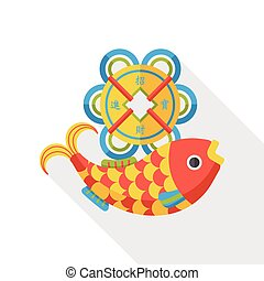 Chinese New Year fish lucky pendant flat icon - Chinese New...
