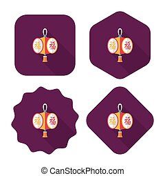 Chinese New Year flat icon with long shadow,eps10, Chinese...