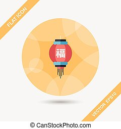 "Chinese New Year flat icon with long shadow, eps10, Chinese festival couplets with lantern means "" wish good lucks"""