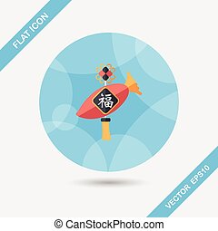 Chinese New Year flat icon with long shadow,eps10, lucky...