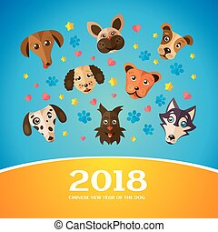 Chinese New Year Greeting Card. 2018 year