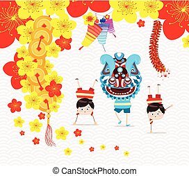 Chinese new year greeting card. Lion Dance