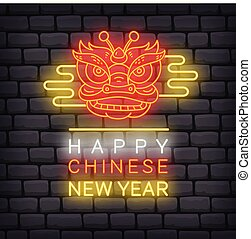 Chinese New Year greeting in neon effect vector illustration