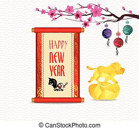 Chinese New Year greeting with chinese festive symbols in oriental style Isolated on white background